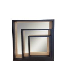 Set de 3 miroirs étagères en bois
