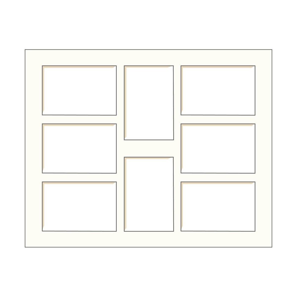 Passe-partout multivues blanc cassé 40x50 cm 8 ouvertures 10x15 cm