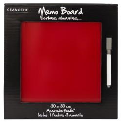 Mémo board magnétique verre rouge 30x30 cm