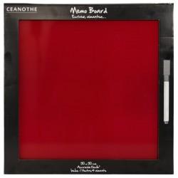 Mémo board magnétique verre rouge 50x50 cm