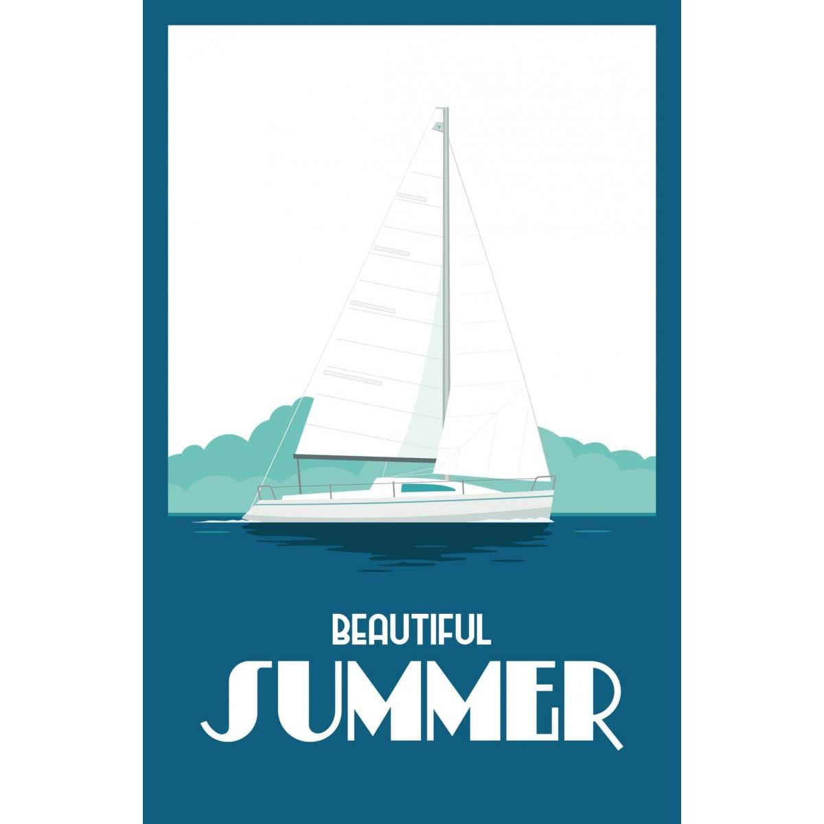 Tableau sur verre ultra résistant blue summer 42x63 cm