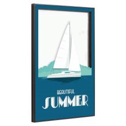Tableau sur verre ultra résistant blue summer 42x63 cm biais