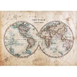 Tableau sur verre synthétique hémisphère mondial 65x97 cm