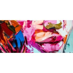 Tableau sur verre synthétique peinture bouche 65x145 cm